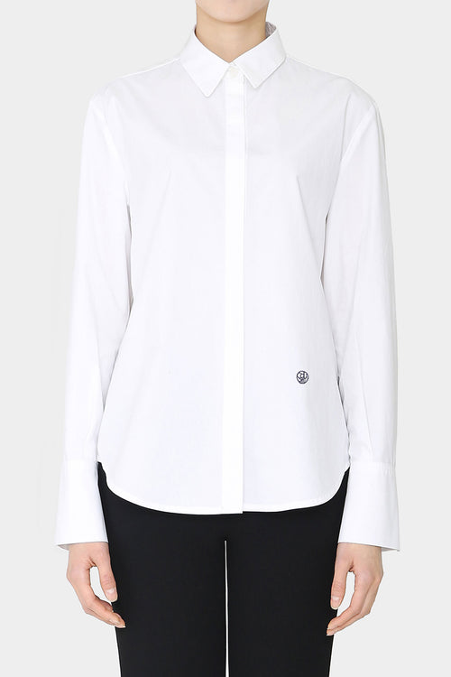 WHITE MERCER LOOSE BUTTON SHIRT