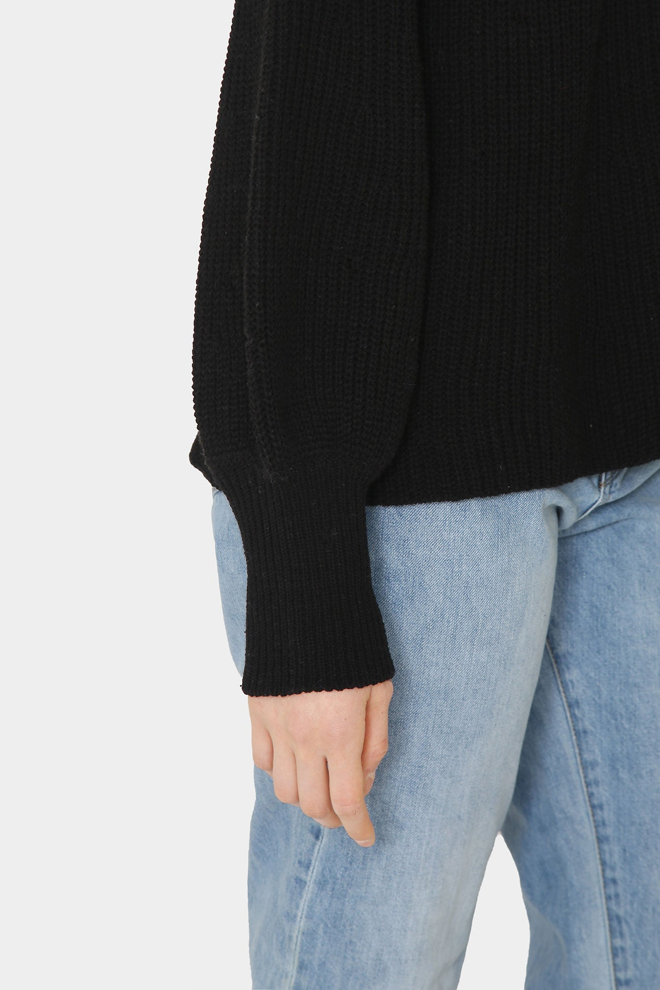 BLACK LOLA COTTON POET SLEEVE SWEATER