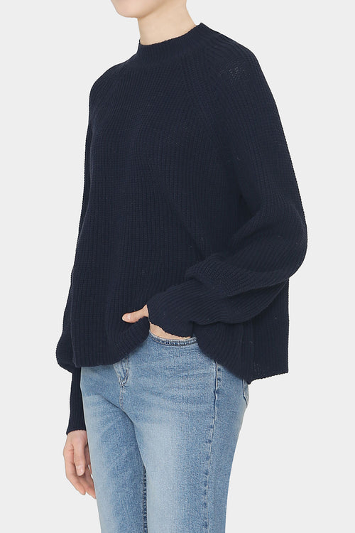 NAVY LOLA COTTON POET SLEEVE SWEATER