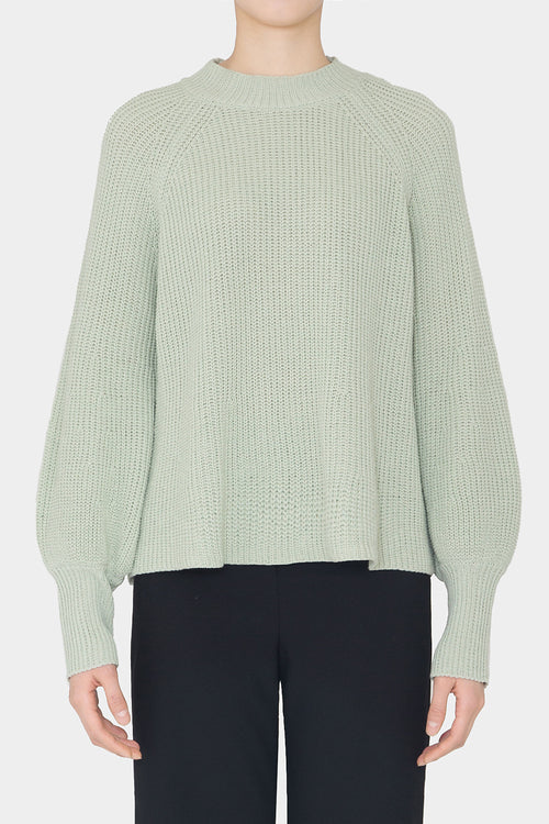 PISTACHIO LOLA COTTON POET SLEEVE SWEATER