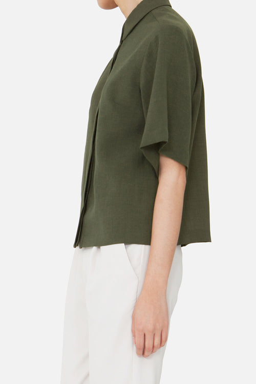 DARK OLIVE LIV SHORT SLEEVE SHIRT