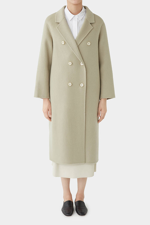 FADED OLIVE TOTIE DOUBLE BREASTED WOOL COAT