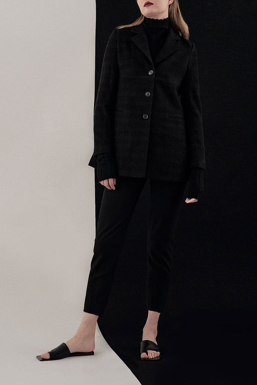 BLACK LOU BOUCLE LONG JACKET
