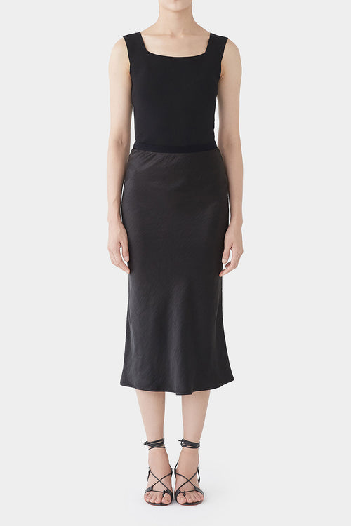 BLACK GEORGINA SATIN BANDING SKIRT