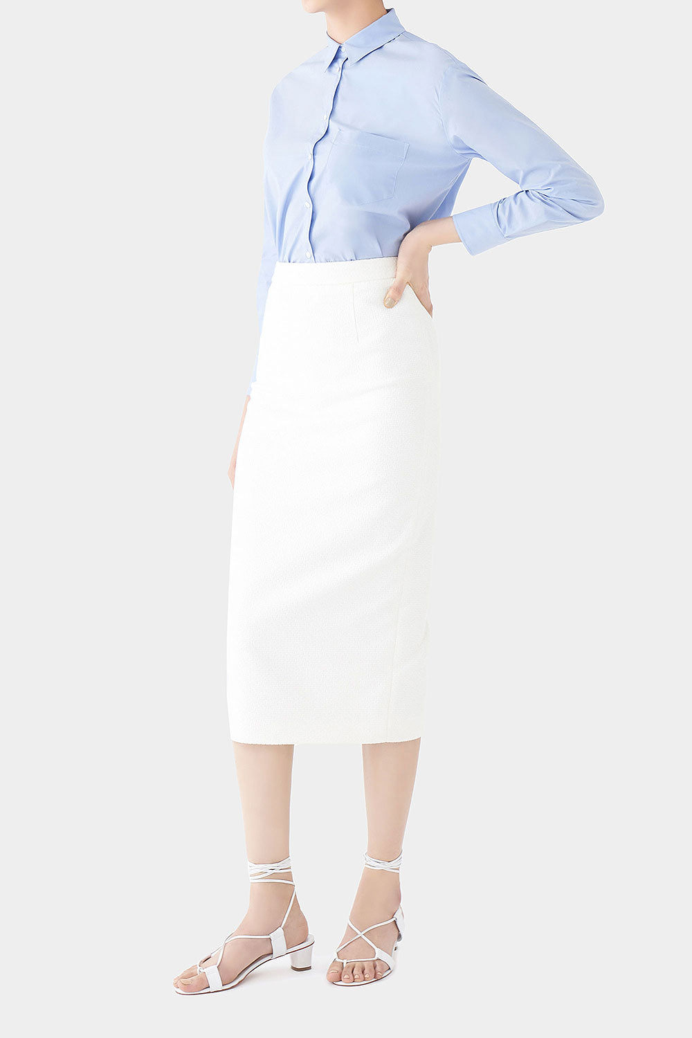 WHITE NORA LONG POM POM SKIRT