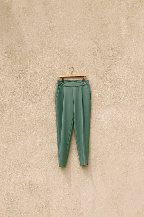 DARK SAGE INES PLEATED PANTS