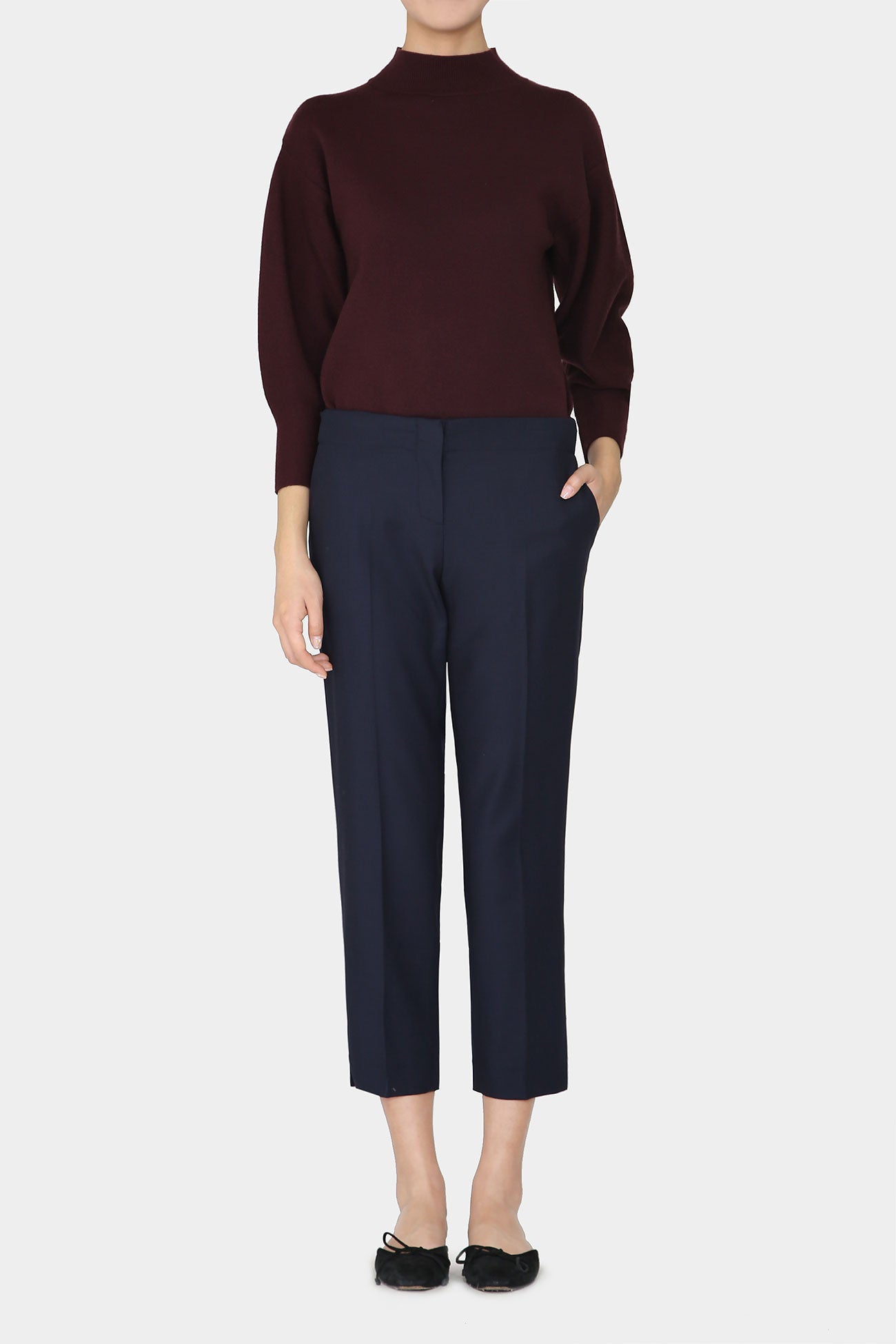 NAVY NATALIE WOOL COMFORT TROUSERS