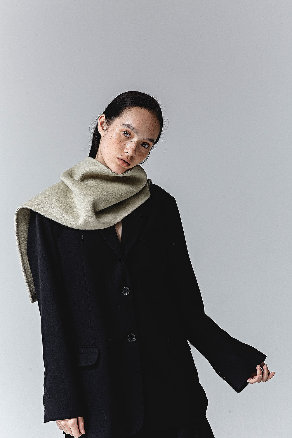 FADED OLIVE ANGIE DOUBLE FACED WOOL SCARF