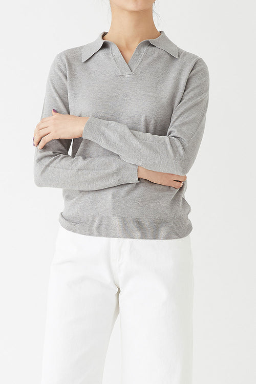 GREY ROBIN CASHMERE POLO KNIT