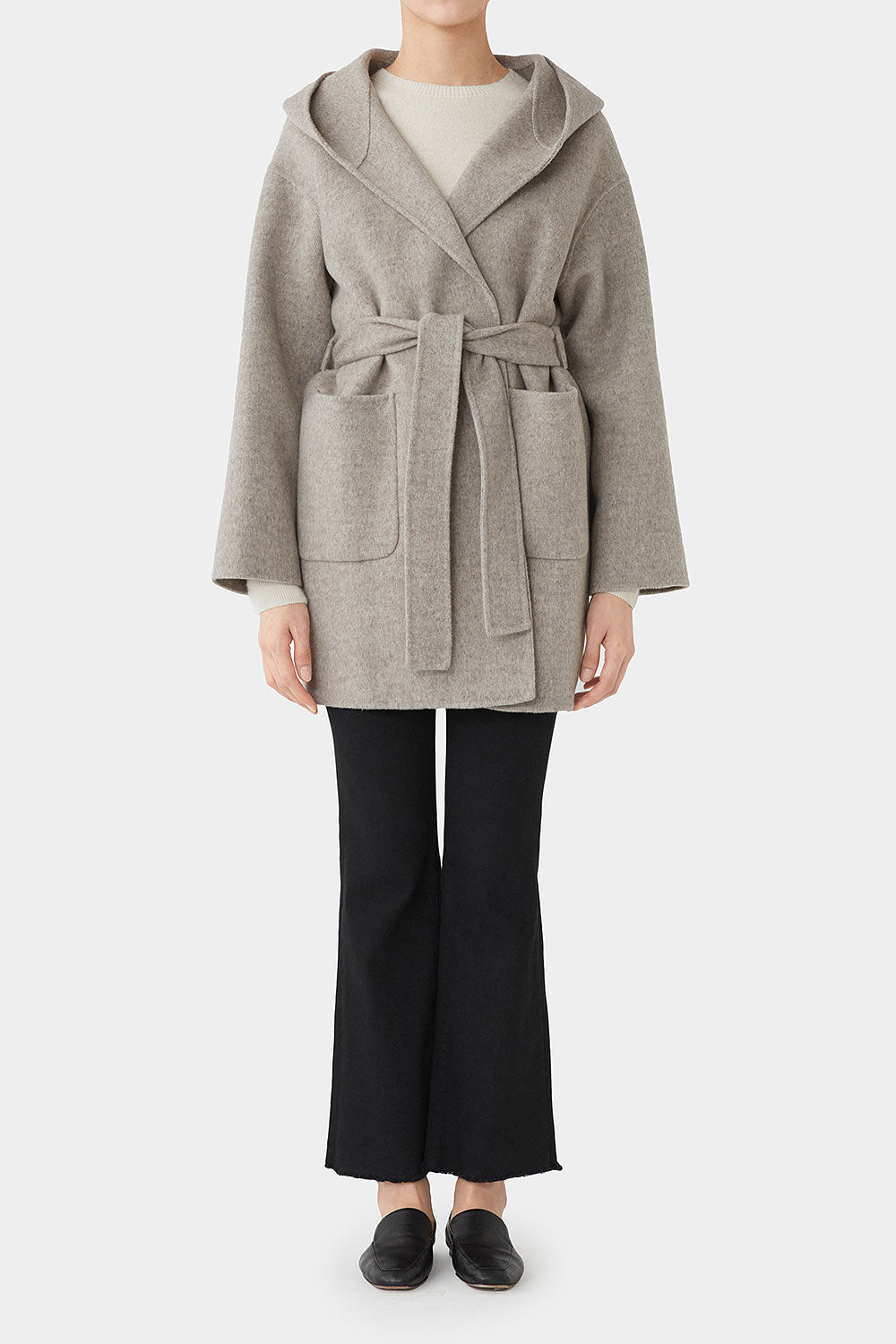 HERRINGBONE NADINE DOUBLE FACED WOOL HOOD COAT