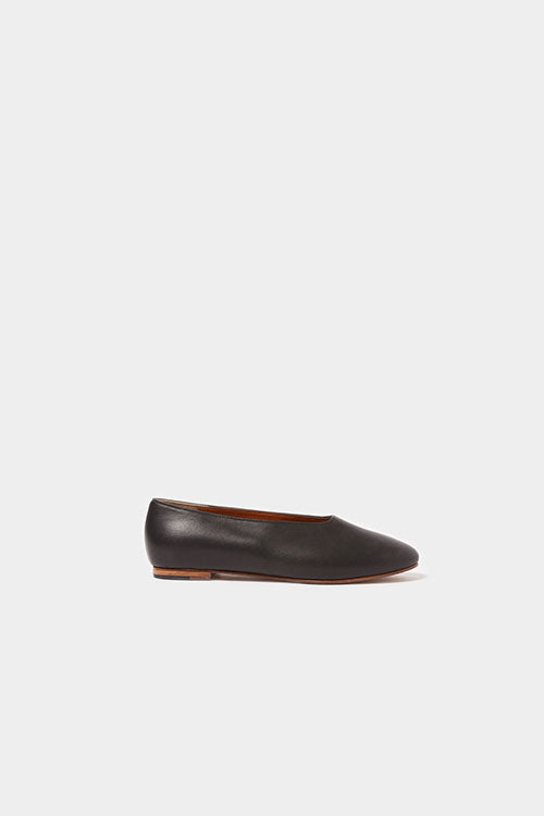 BLACK FAENA DAY LEATHER FLAT