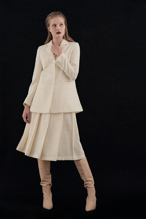 CREAM LOU BOUCLE LONG JACKET