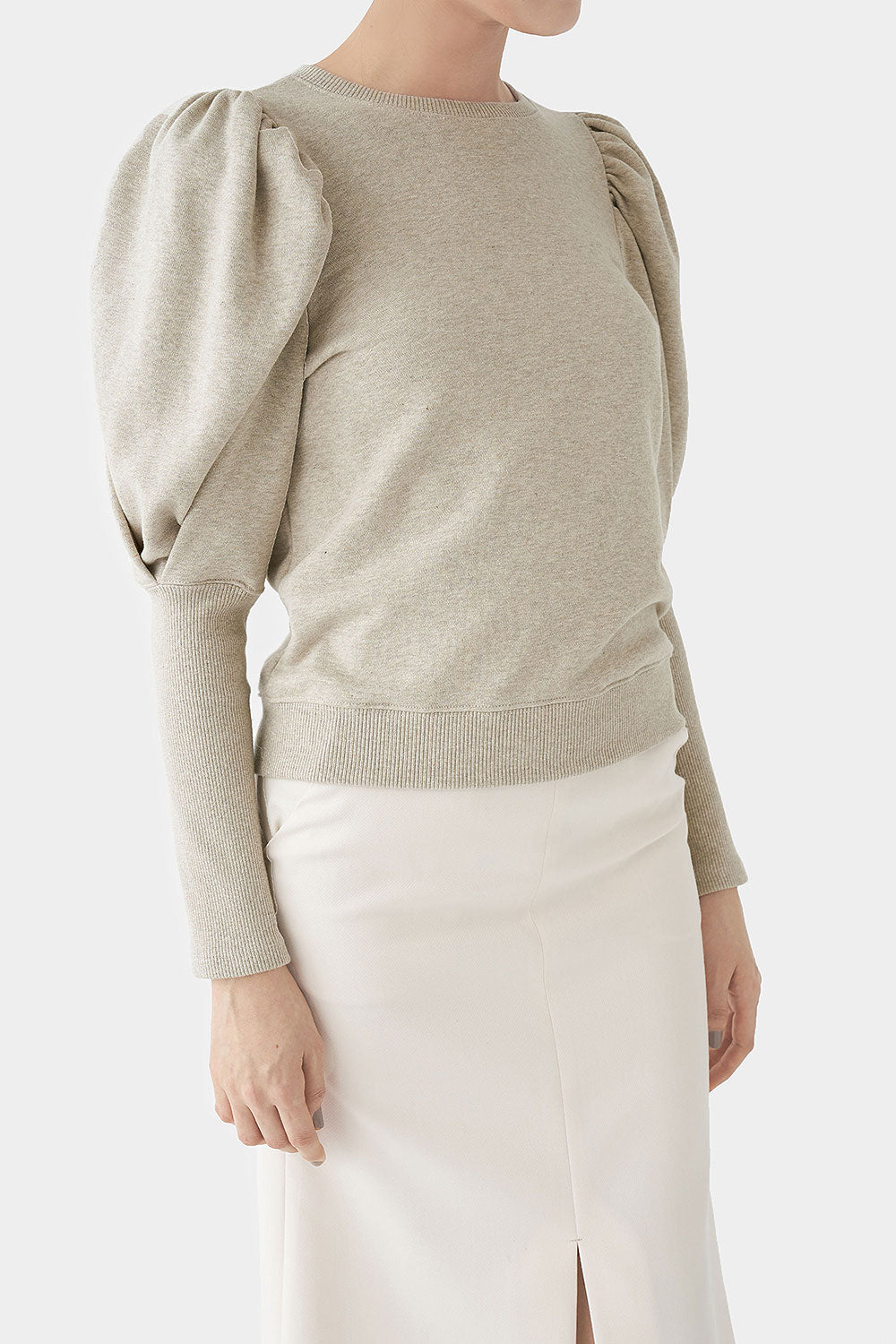OATMEAL BO PUFF SLEEVE TOP