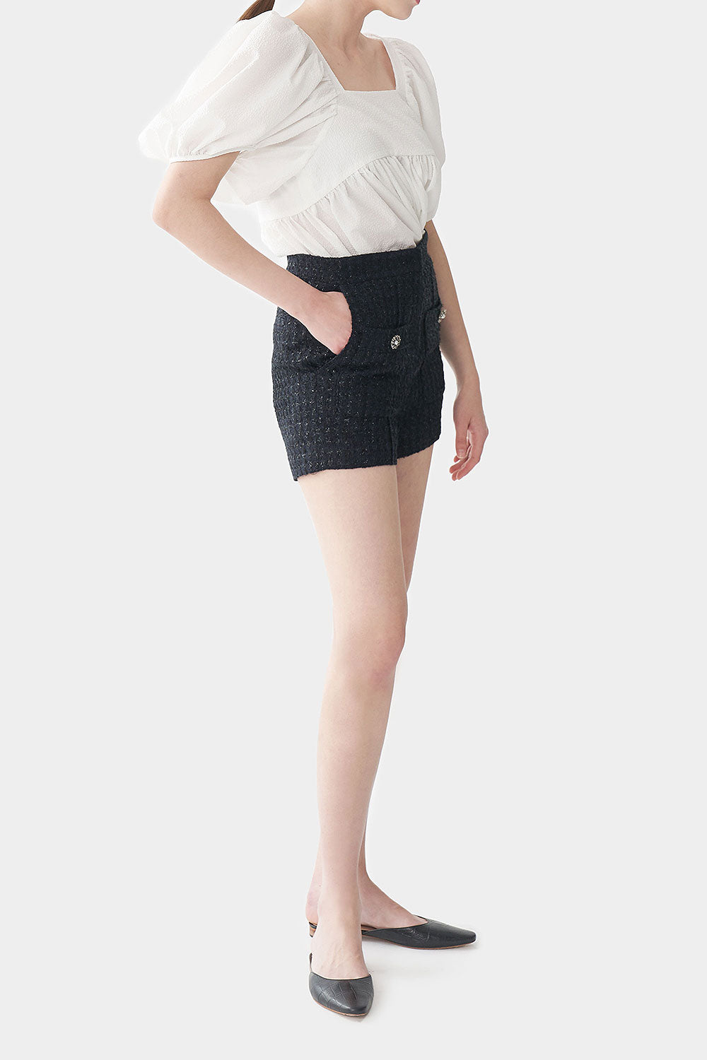 MIDNIGHT LID TWEED DOUBLE POCKET SHORTS