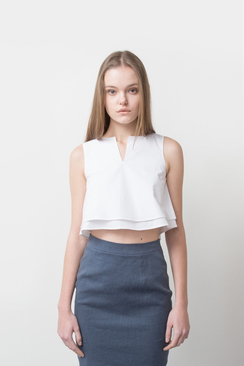 WHITE WILMA RUFFLE TOP