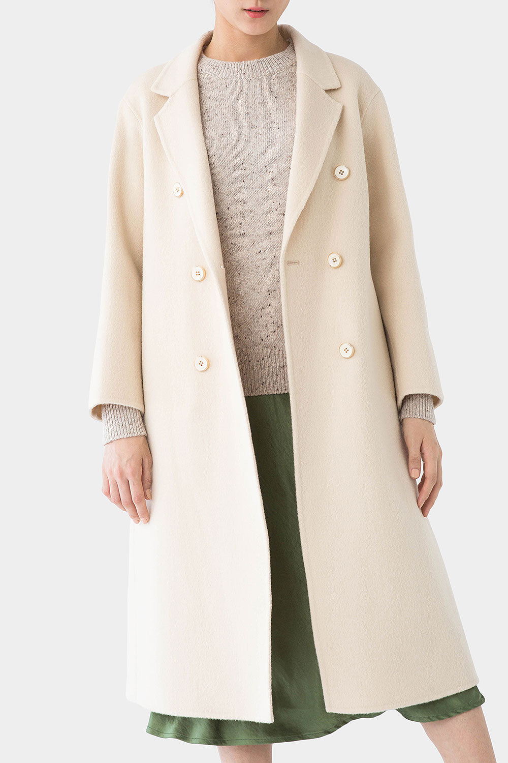 CREAM TOTIE DOUBLE BREASTED WOOL COAT