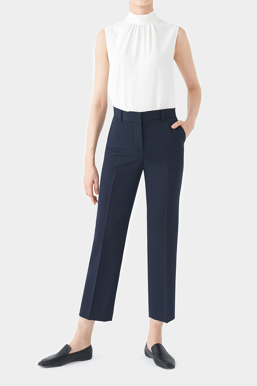 NAVY POSIE STRETCH HIGHRISE PANTS