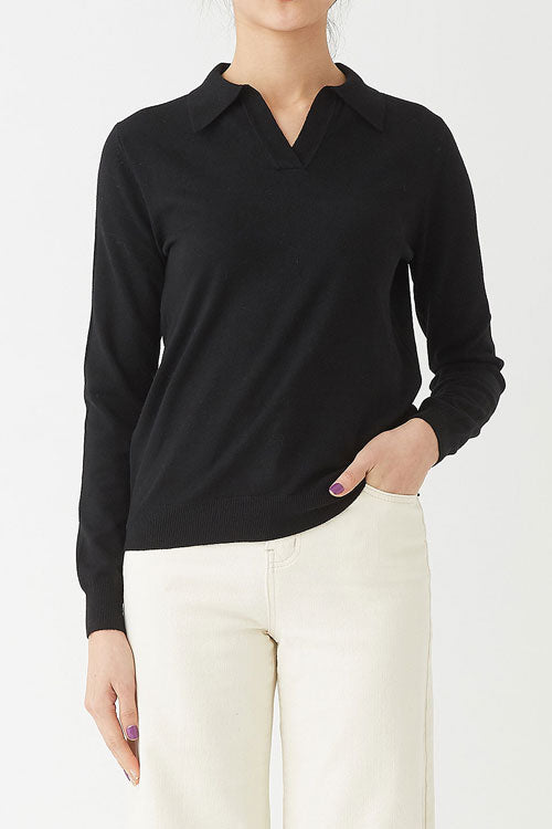 BLACK ROBIN CASHMERE POLO KNIT