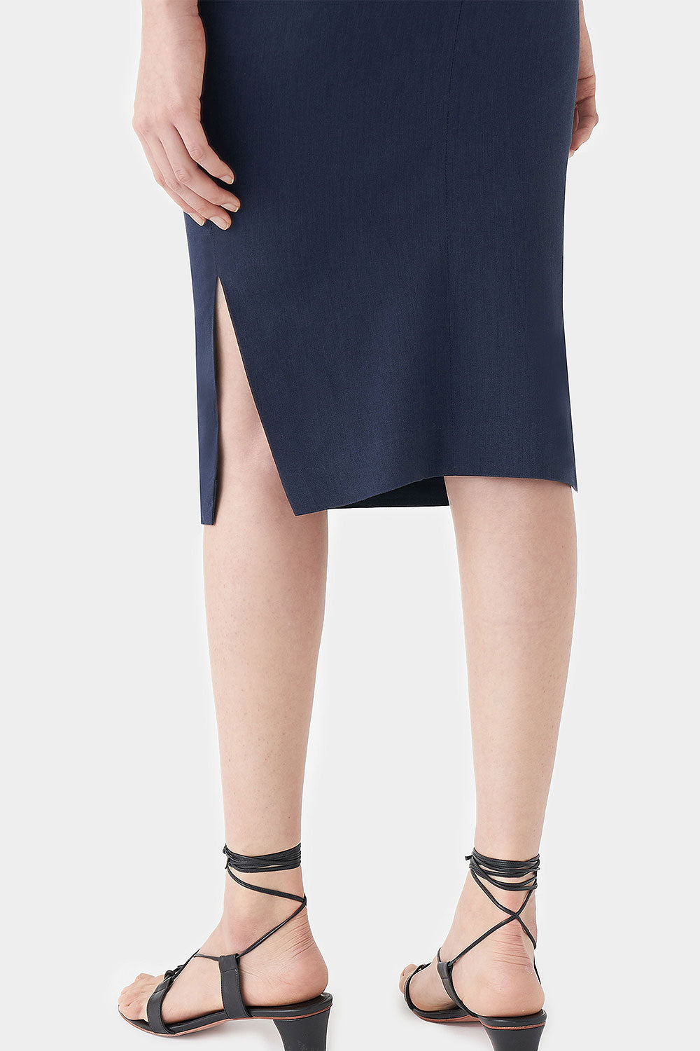MIDNIGHT IRIS LINEN SKIRT