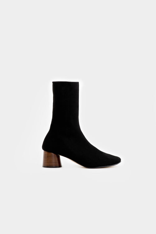 BLACK QUINCY KNITTED ANKLE BOOTS