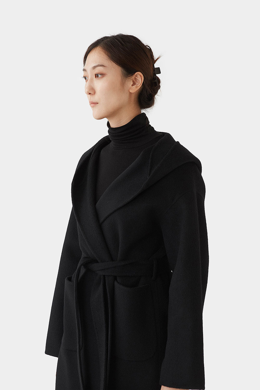 BLACK NADINE DOUBLE FACED WOOL HOOD COAT