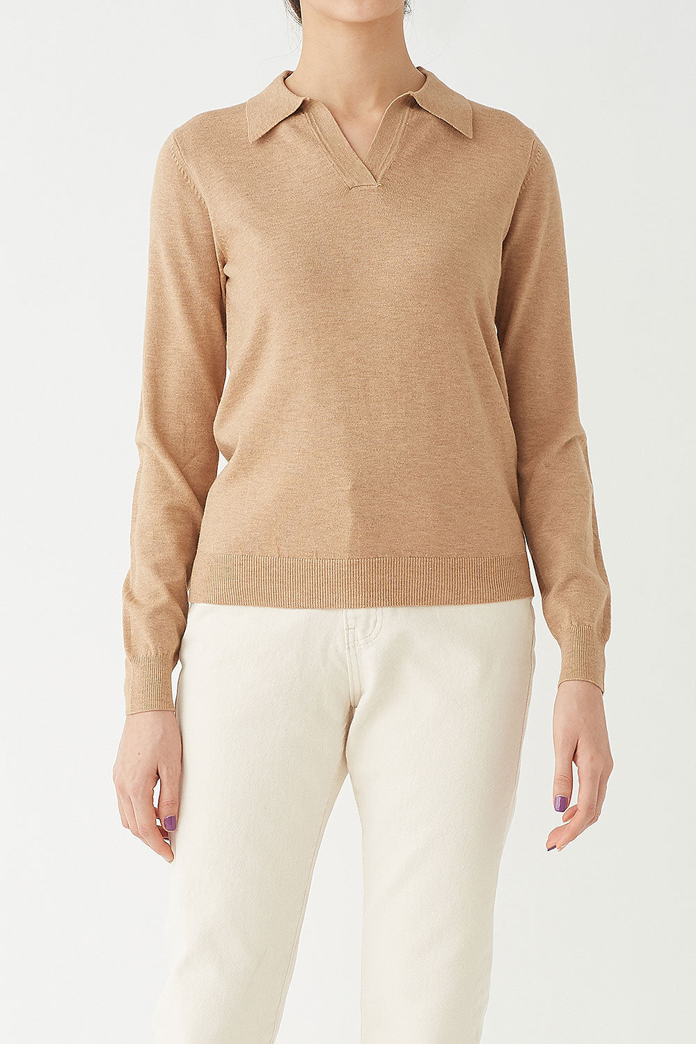 BEIGE ROBIN CASHMERE POLO KNIT