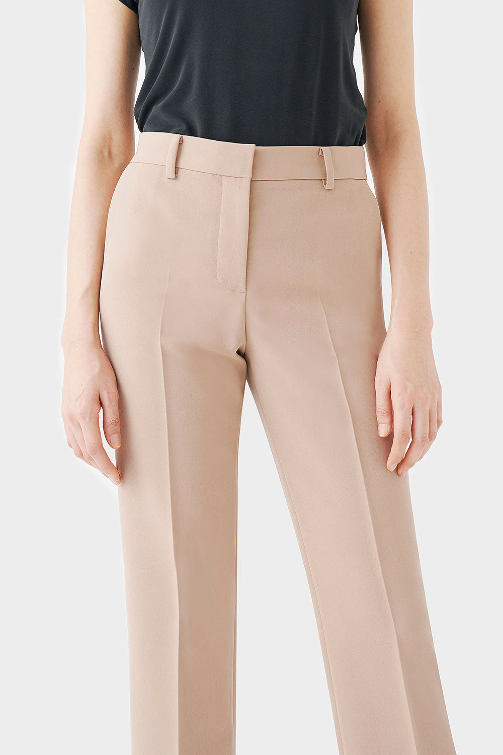 BEIGE POSIE STRETCH HIGHRISE PANTS