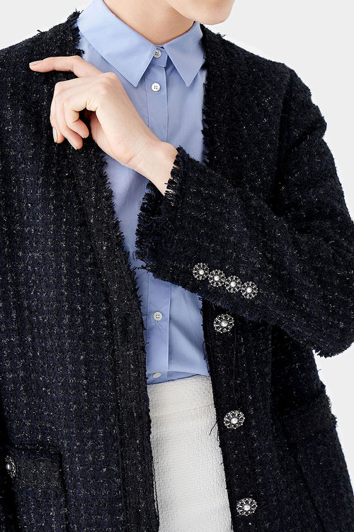 MIDNIGHT CHAI LOOSE TWEED JACKET
