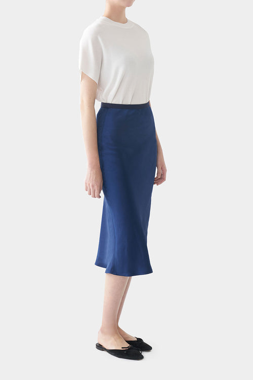 NAVY BLUE GEORGINA SATIN BANDING SKIRT