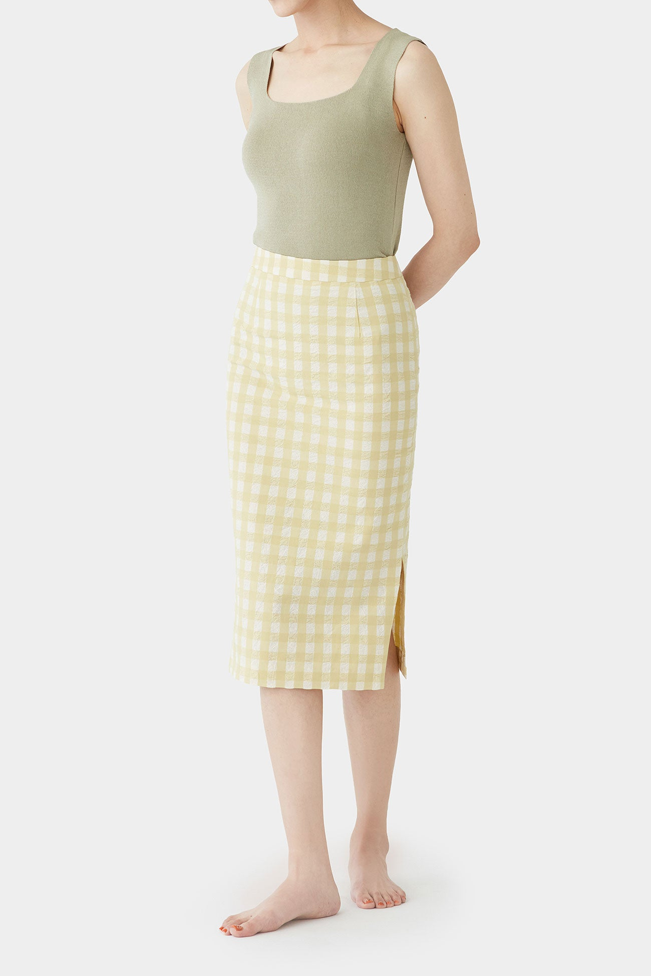 LEMON IRIS PLAID SKIRT