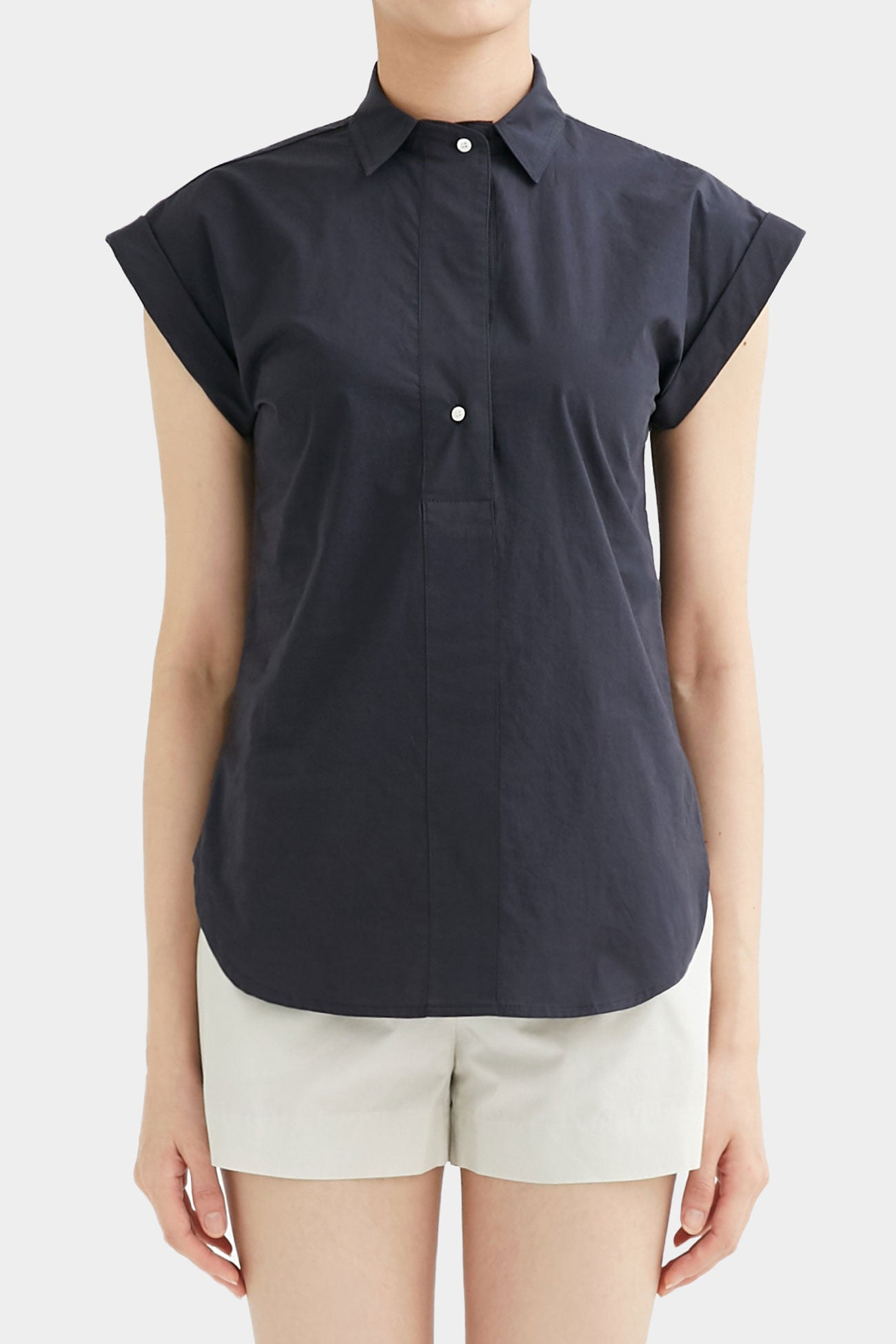 NAVY HEATHER SHORTSLEEVE SHIRTS