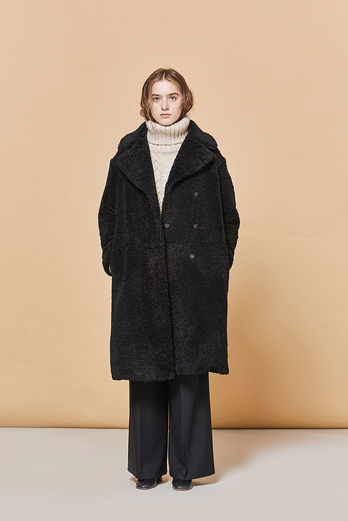 BLACK YOUNES TEDDYBEAR FAUX SHEARLING COAT