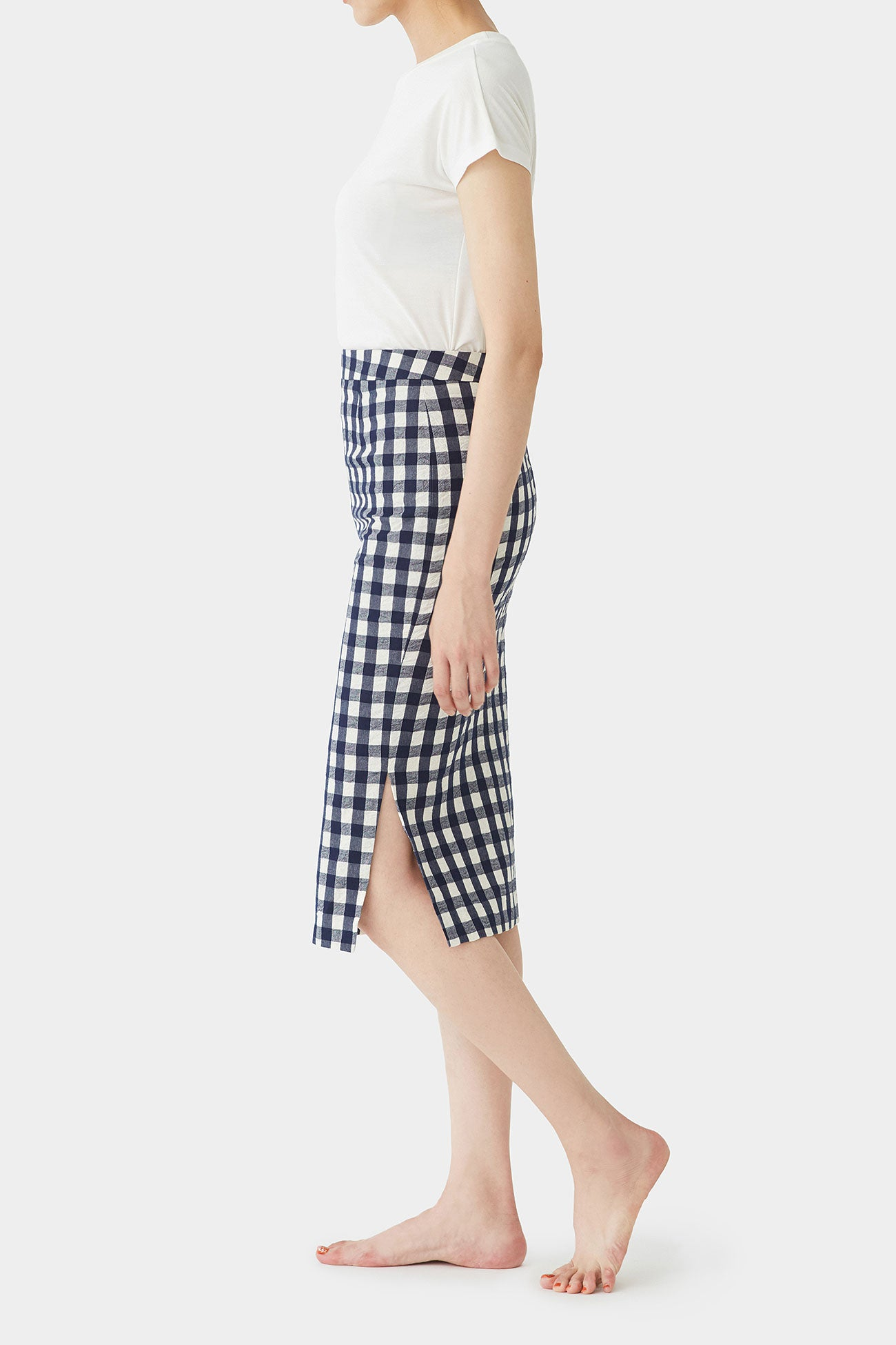 NAVY  IRIS PLAID SKIRT