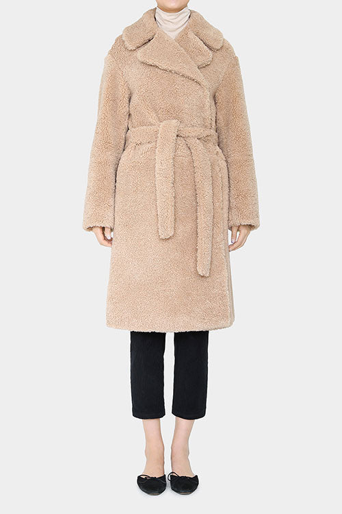 MOCHA YOUNES TEDDYBEAR FAUX SHEARLING COAT