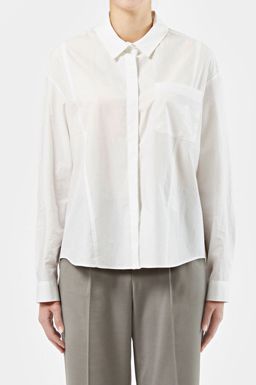 WHITE HALLIE FRONT POCKET SHIRT