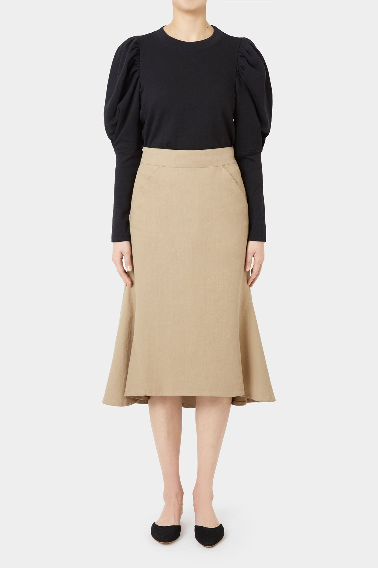 BEIGE TAY COTTON FLARE SKIRT