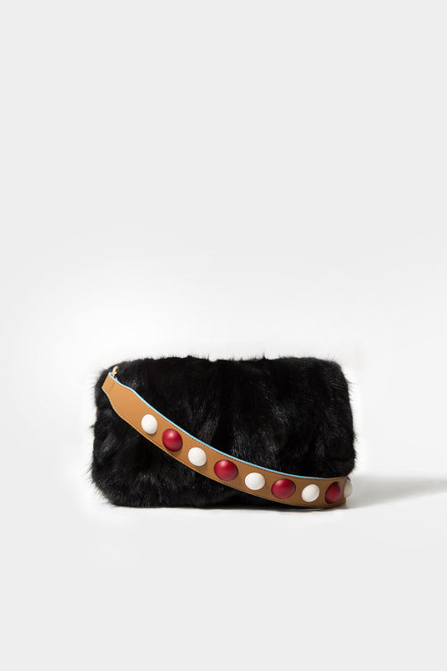 BLACK SALI MINK CLUTCH (STRAP NOT INCLUDED)