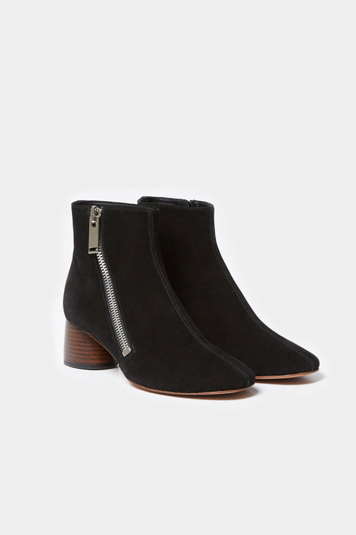 BLACK SUEDE BAEY SIDE ZIPPER BOOTIE