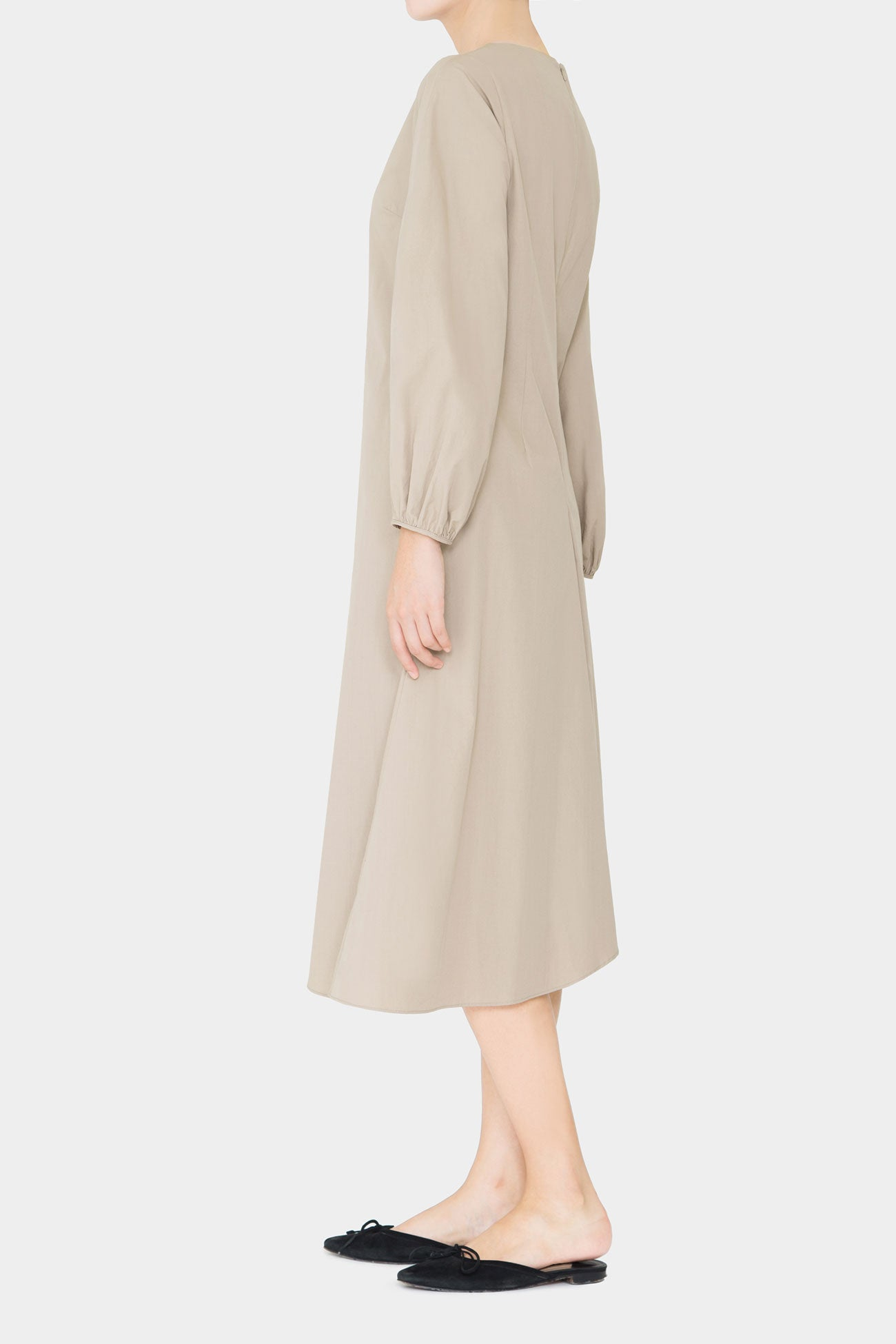 BEIGE RILEY MID FLARE DRESS