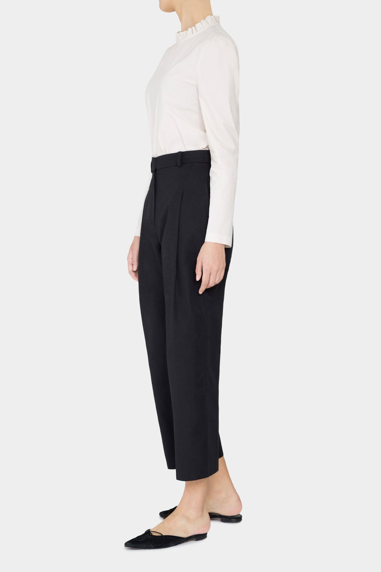 BLACK DEAN FRONT TUCK TROUSER