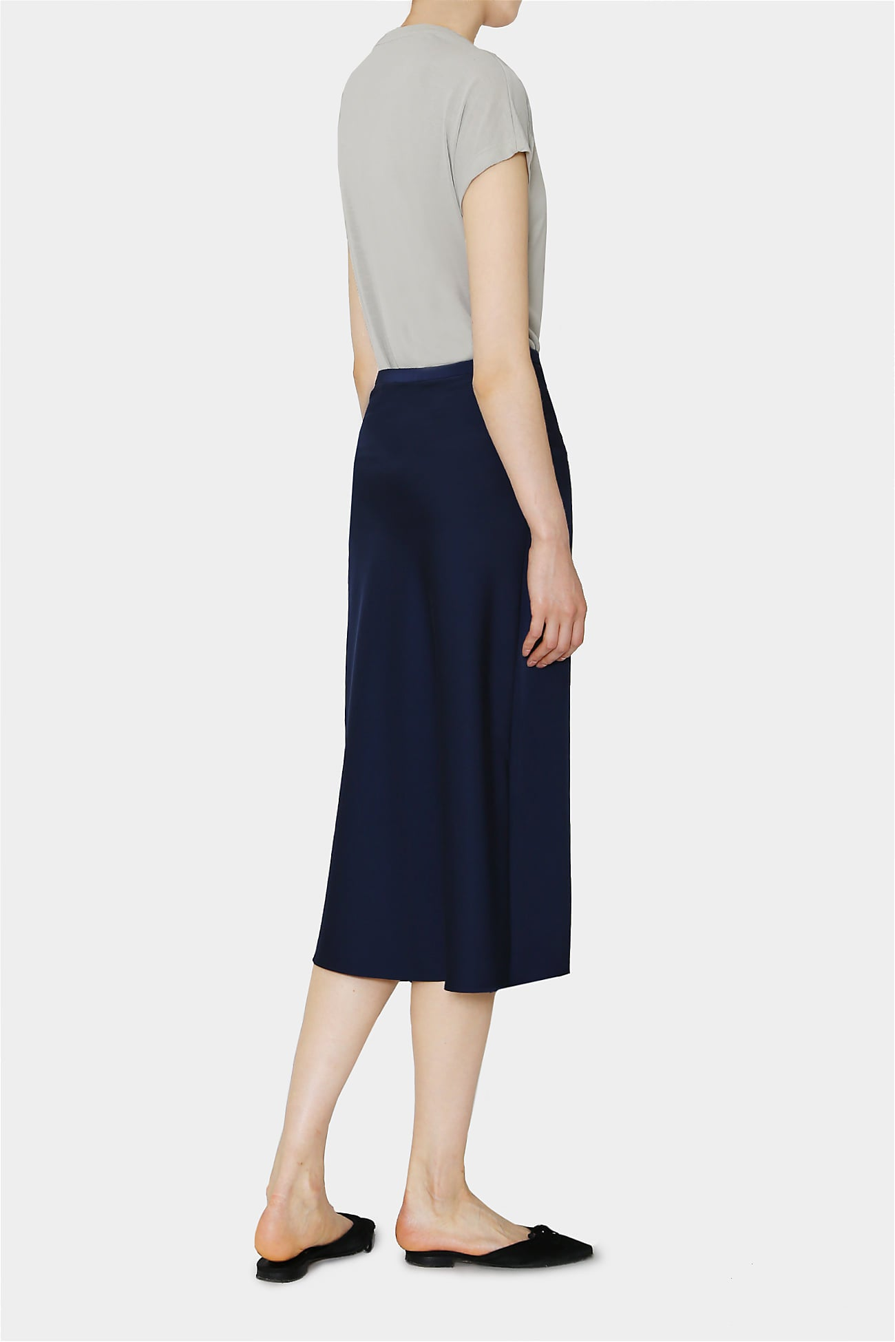 NAVY DEMI SATIN SKIRT