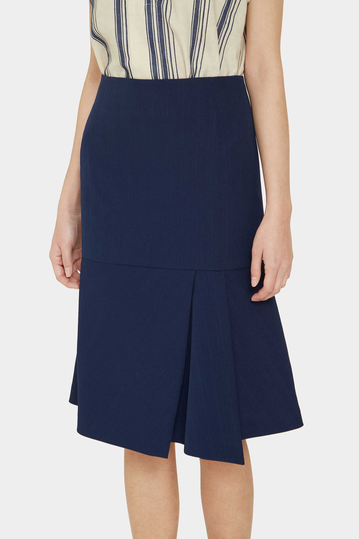 NAVY BETINA SLIT SKIRT