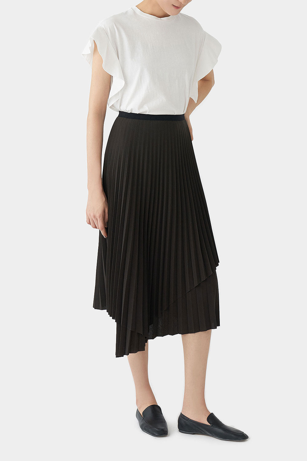 CHARCOAL LENA PLEATED SKIRT