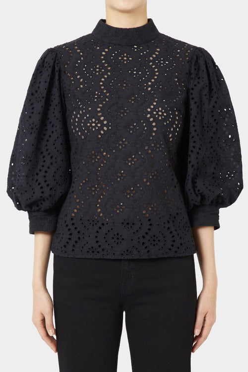BLACK DYLAN LACE PUFF SLEEVE TOP