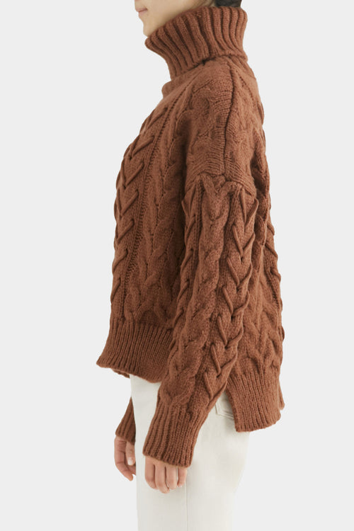 BROWN SIES CABLE KNIT