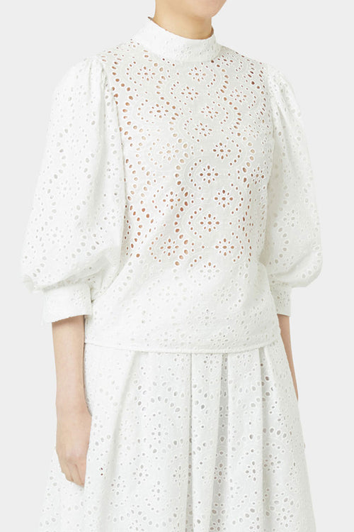 WHITE DYLAN LACE PUFF SLEEVE TOP