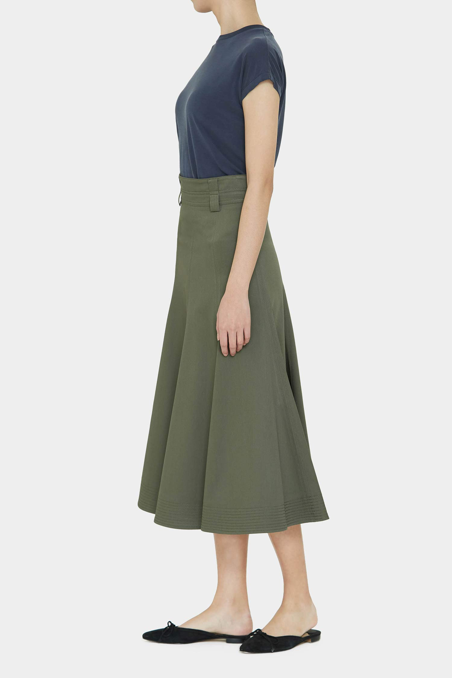 MOSS PAVEL STITCH FLARE SKIRT
