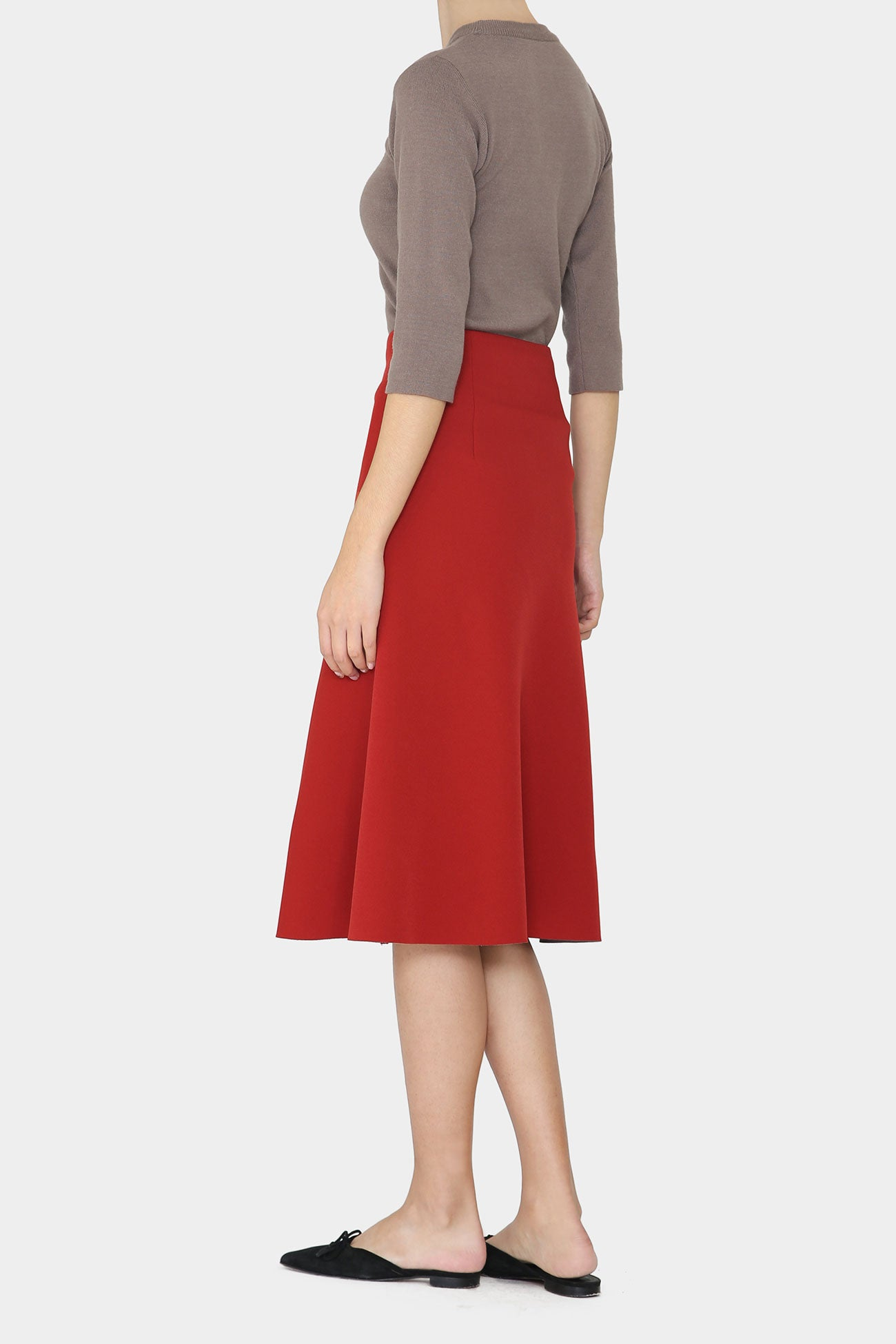 INDIAN RED PHOEBE DOUBLE FACED A-LINE SKIRT