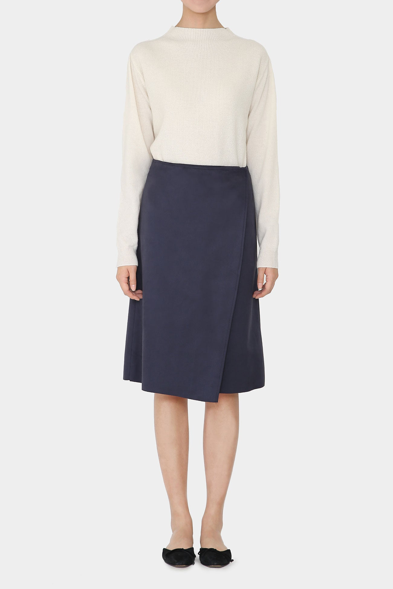 NAVY CRUZ SUEDE WRAP SKIRT