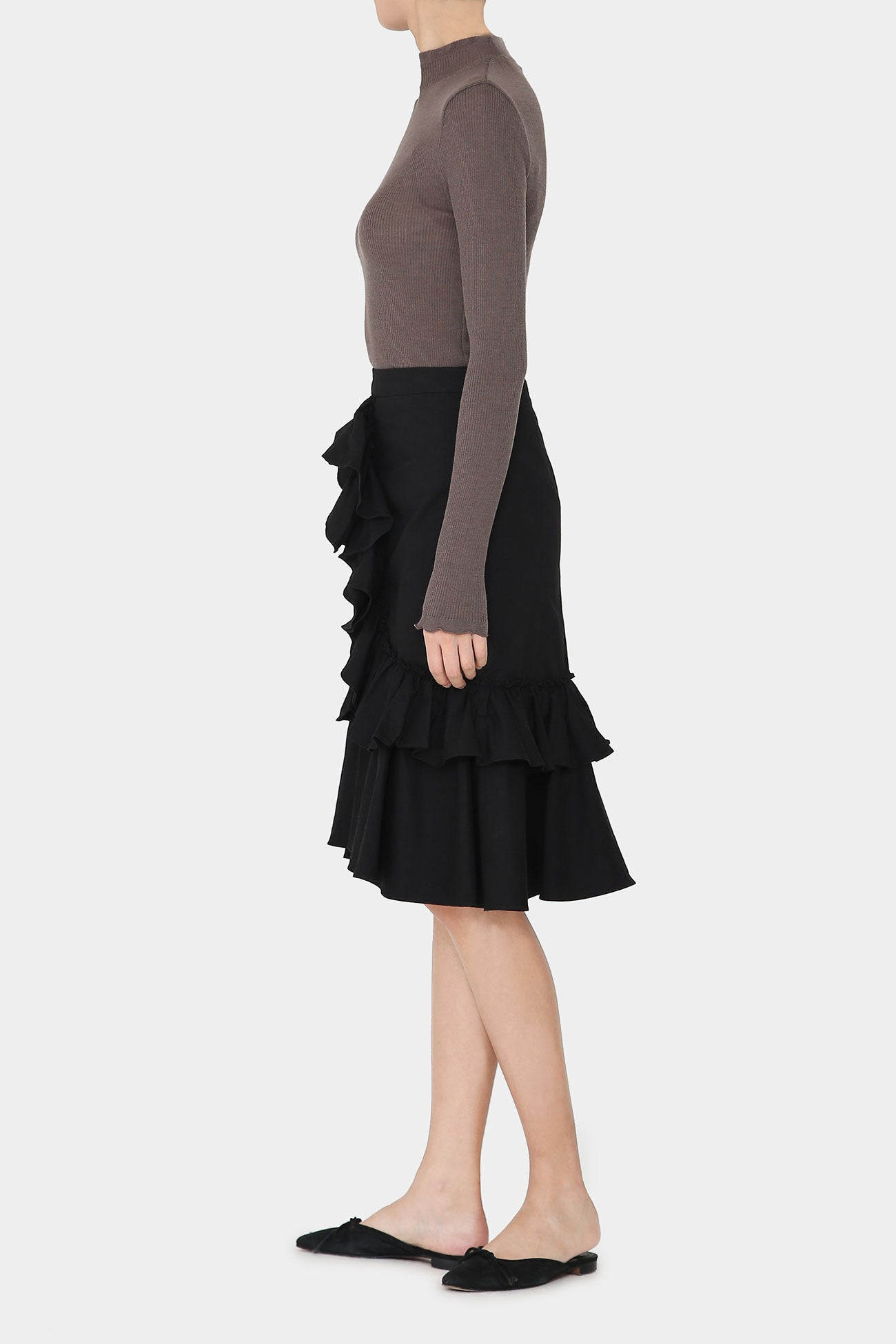 BLACK KENDEL RUFFLE SKIRT